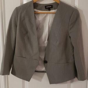 Express gray open front cut blazer